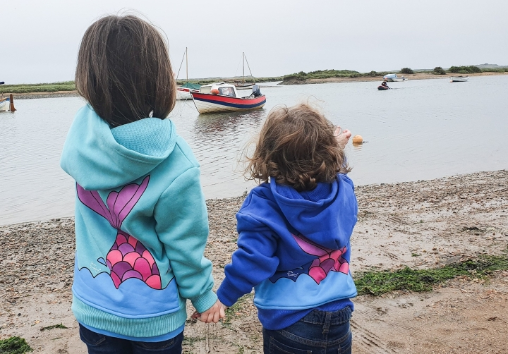Exploring the beach with Gone Crabbing clothing